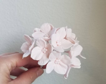 12 Blush Pink Hydrangea Gumpaste Sugar Flowers for Wedding and Bridal Shower Cake Toppers
