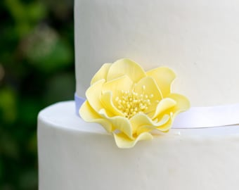 Yellow Open Rose Sugar Flower - Unique Cake Topper - Gumpaste Flower Decoration - Easter Cake Topper