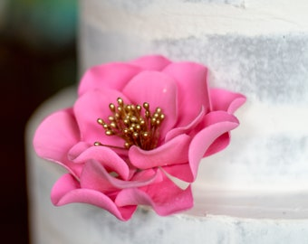 Hot Pink and Gold Open Rose