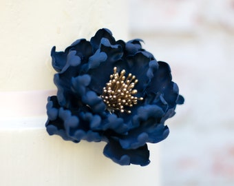 Navy and Gold Peony