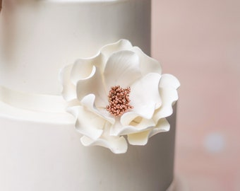 White and Rose Gold Open Rose Sugar Flower READY TO SHIP
