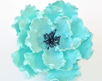 Teal and Black Open Peony Sugar Flower for wedding cake toppers and gumpaste decorations