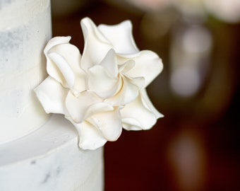 White Gardenia Sugar Flower Wedding Cake Topper