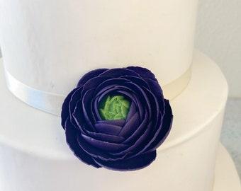 Dark Purple Ranunculus sugar flower wedding cake topper