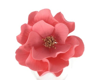 Open Rose Sugar Flower in Coral with Gold Center for wedding cake decorations, gumpaste flowers, cake toppers
