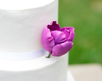 Purple Tulip Sugar Flower cake topper