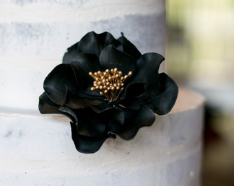 Black and Gold Open Rose Sugar Flower Wedding Cake Topper