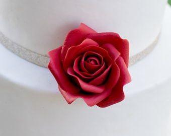 Small Red Rose Sugar Flower Wedding Cake Topper