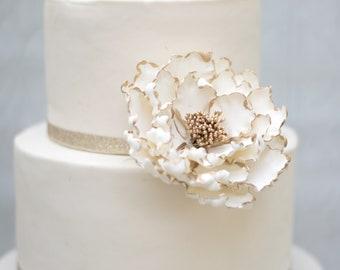 White  Peony with Gold Edging Gumpaste Flower Wedding Cake Topper