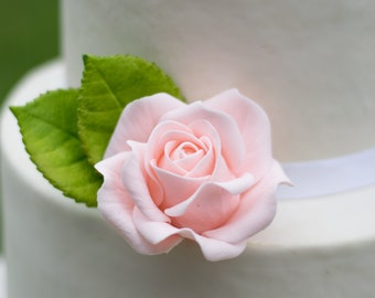 Small Blush Pink Rose Sugar Flower Wedding Cake Topper