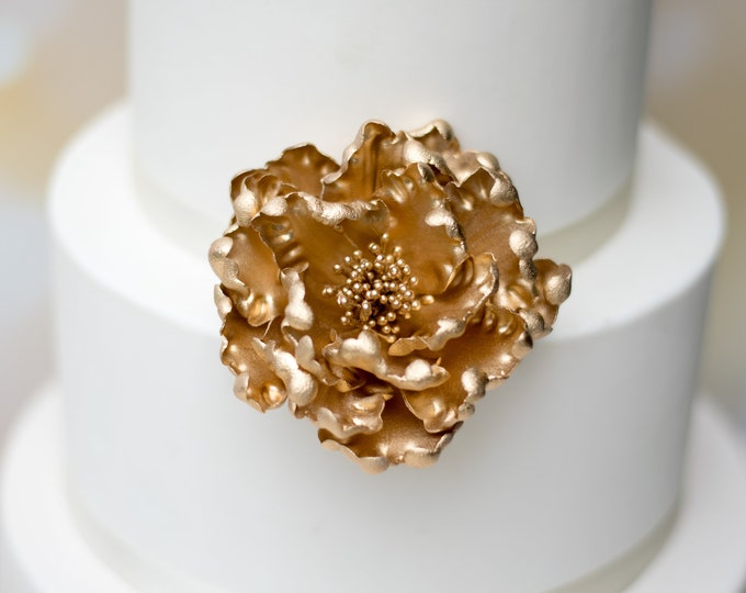 Featured listing image: Gold Peony Sugar Flower - Unique Wedding Cake Topper - Gumpaste Flowers