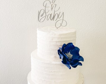 Navy and Silver Open Rose Sugar Flower - Unique Wedding Cake Topper