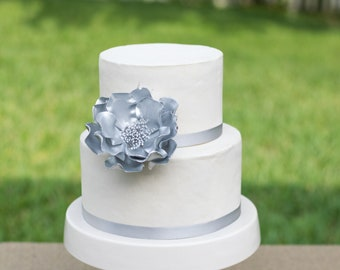 Silver Open Rose Sugar Flower wedding cake topper