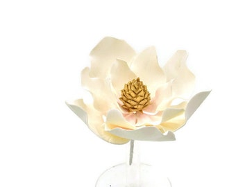 Magnolia Sugar Flower with Blush Details and Gold Center - Ready to Ship - Wedding Cake Topper