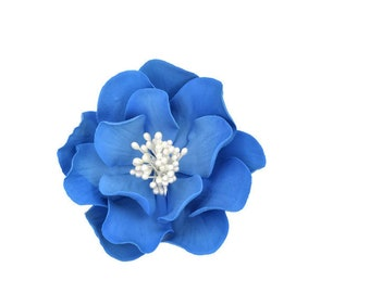 Royal Blue Open Rose Sugar Flower, Birthday Cake Topper, Unique Gumpaste Flowers