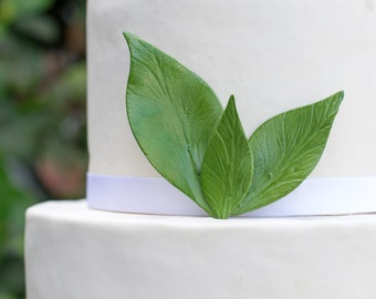 Peony Leaves - set of 3 Light Green Leaves for Gumpaste and Sugar Flower Cake Toppers