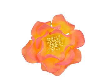 Pink and yellow open rose sugar flower for wedding cake toppers