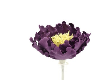 Plum Purple Open Peony Sugar Flower for wedding cake toppers and gumpaste decorations