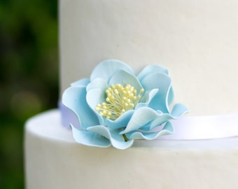 Blue Open Rose Sugar Flower - Unique Cake Topper - Gumpaste Flower Decoration - Easter Cake Topper