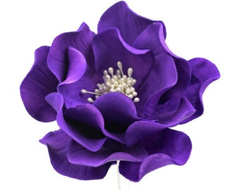 Purple Open Rose Sugar Flower Cake Topper - Ultraviolet Gumpaste Flower - Unique Birthday Cake Topper - Violet Sugar Flowers