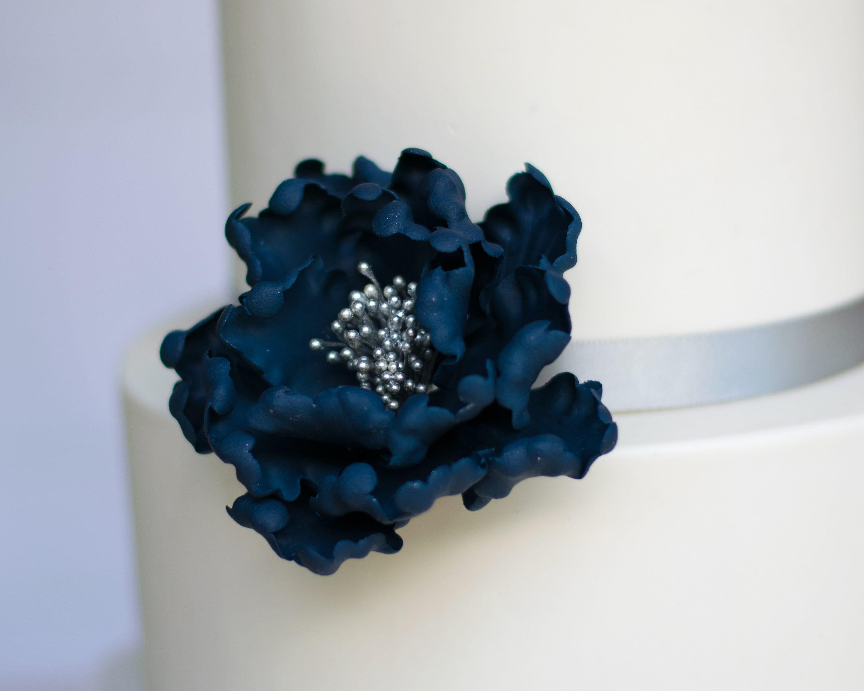 Navy Blue And Silver Open Peony Gumpaste Flower Unique