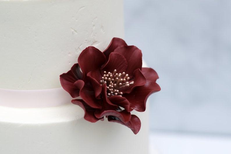 Burgundy And Rose Gold Open Rose Sugar Flower Wedding Cake Etsy