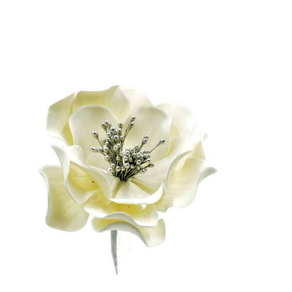 White And Silver Open Rose Sugar Flower For Wedding Cake Etsy