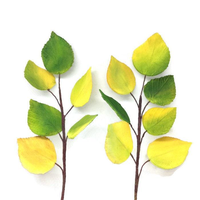 Aspen Leaves - Gumpaste Yellow and Green Aspen Leaves - Sugar Flower ...