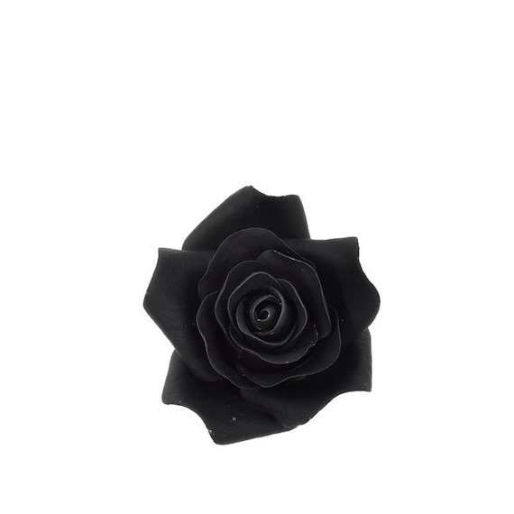 Small black rose sugar flower wedding cake topper gumpaste etsy image 0 mightylinksfo
