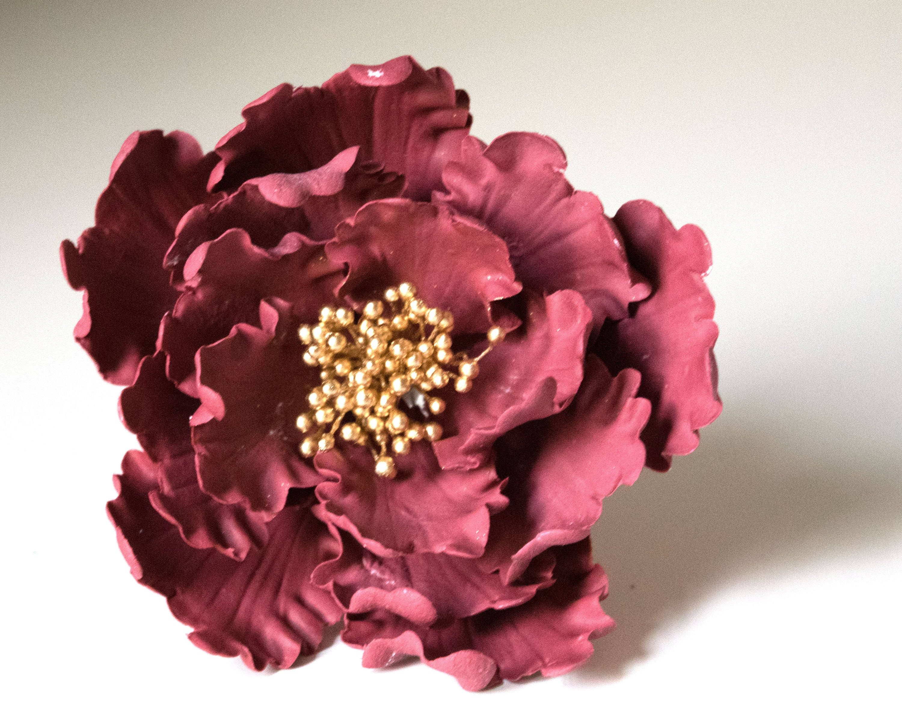 Maroon Peony READY TO SHIP sugar flower for wedding cake decorations ...