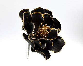 Black and Gold Open Rose - Gold Gilded Edge