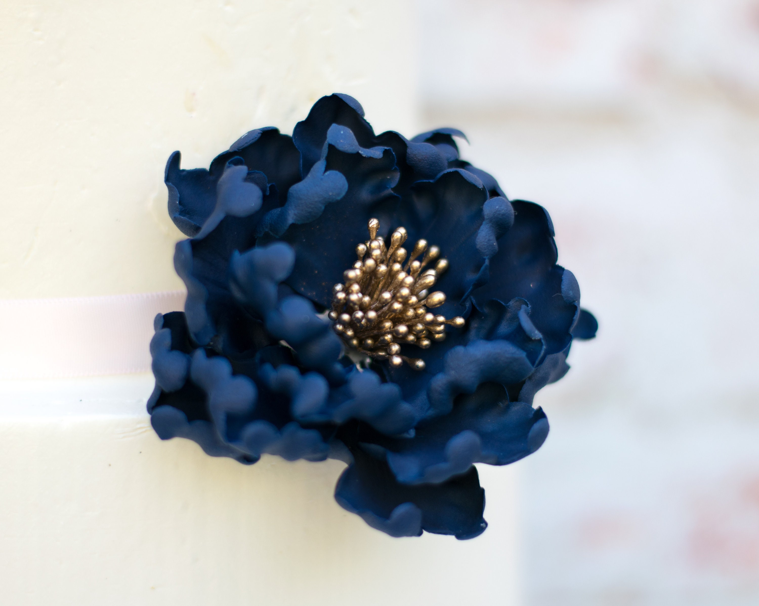Navy And Gold Peony Sugar Flower For Wedding Cake Toppers