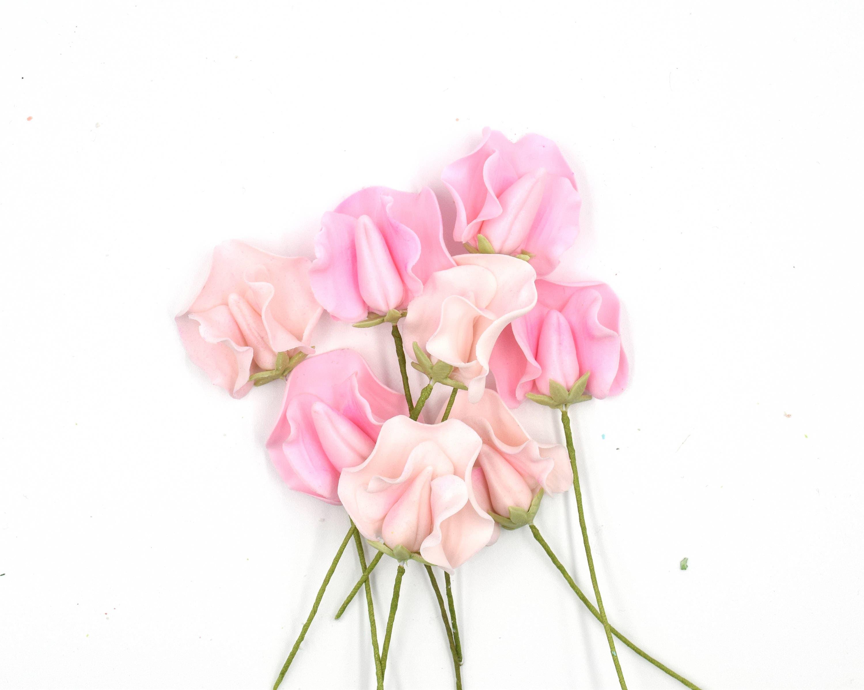 Pink sweet pea sugar flowers set of 8 mightylinksfo