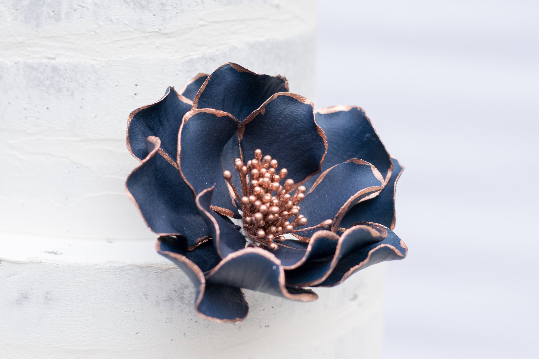 Navy Open Rose With Rose Gold Edging Sugar Flower