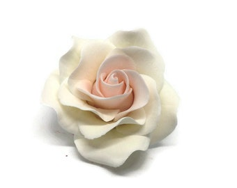 Small White and Blush Pink Rose Sugar Flower Rose for Modern Wedding Cake Toppers, Gumpaste Flower Bouquets, Bridal Shower or Baby Shower