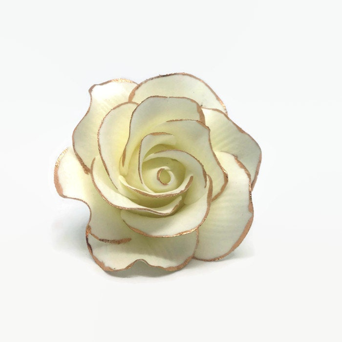 Small White Rose Sugar Flower With Rose Gold Edging Gumpaste