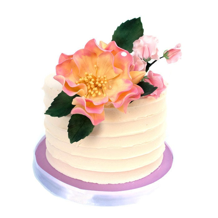 Pink And Yellow Sugar Flower Arrangement Cake Topper With Roses