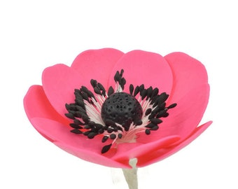 Hot Pink Anemone Sugar Flowers for wedding cake toppers, gumpaste decorators, DIY weddings