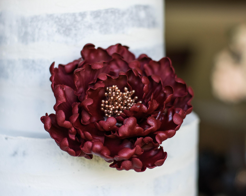 Burgundy And Rose Gold Open Peony Sugar Flower Gumpaste