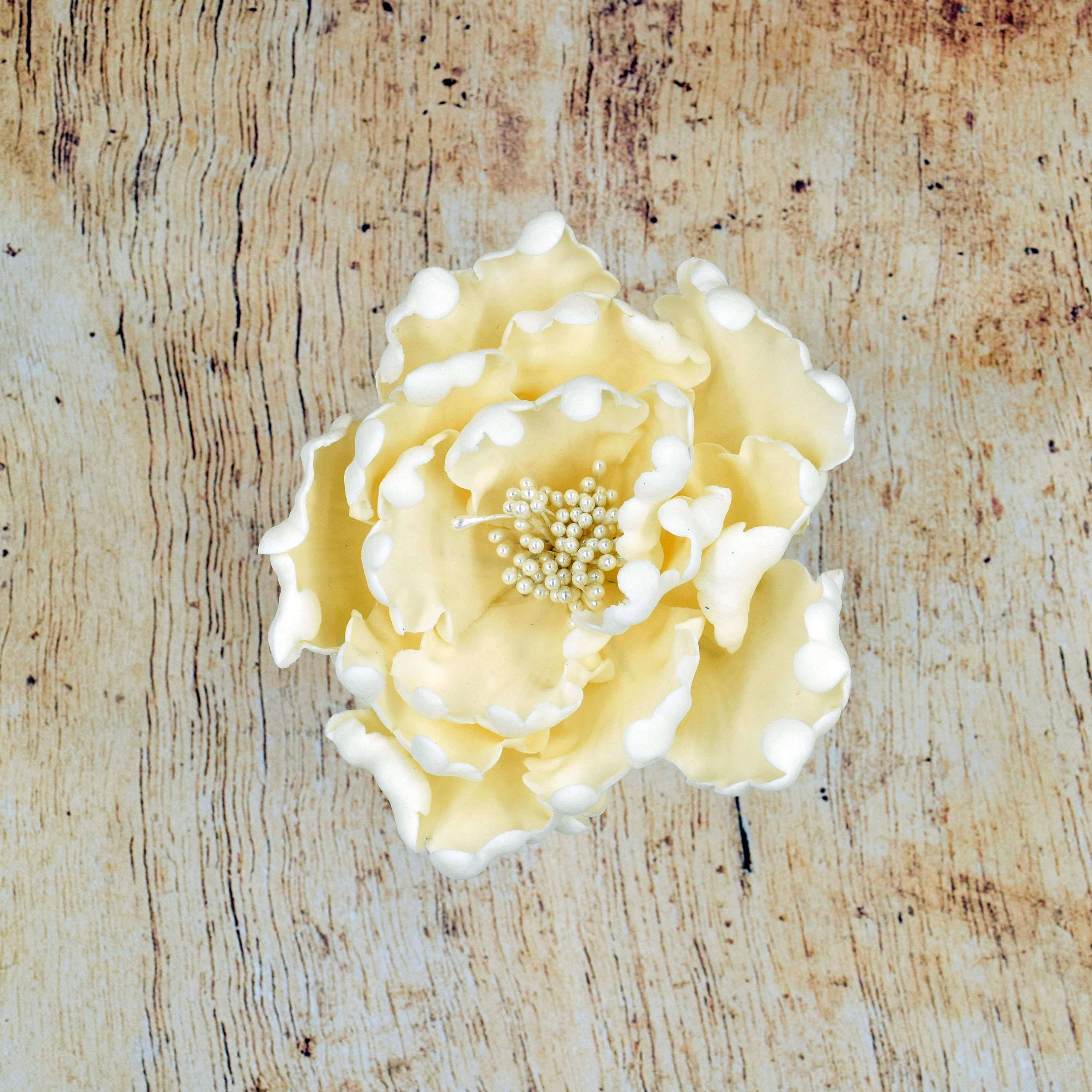 Ivory Peony Sugar Flower - Unique Wedding Cake Topper - Gumpaste ...