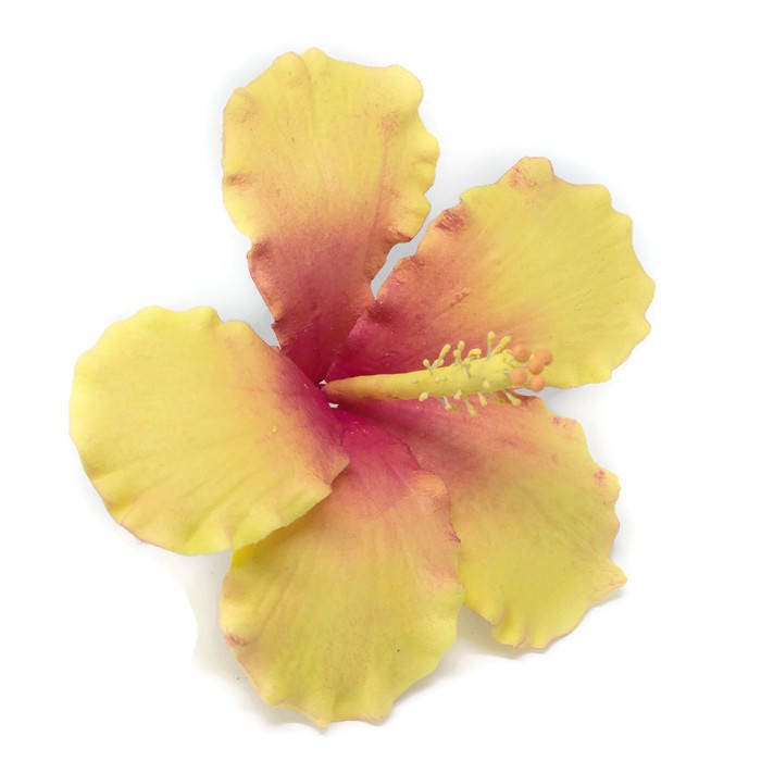 Hibiscus Sugar Flower Yellow and Pink tones for wedding cake topper ...