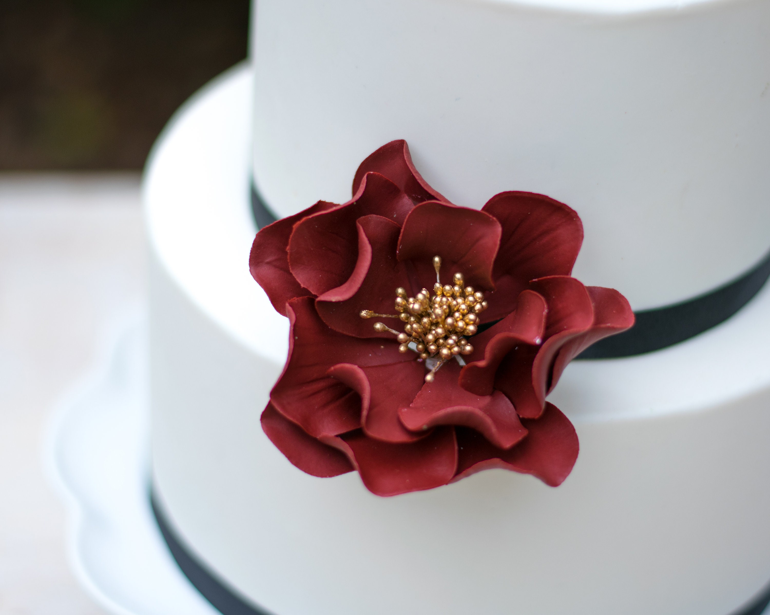 Burgundy And Gold Open Rose Sugar Flower Wedding Cake Topper