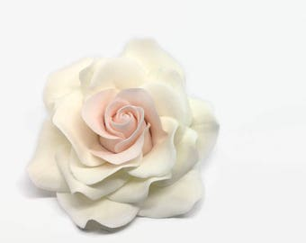 White and Blush Rose Sugar Flower Gumpaste Rose for Modern Wedding Cake Toppers, Cake Decor, DIY Weddings