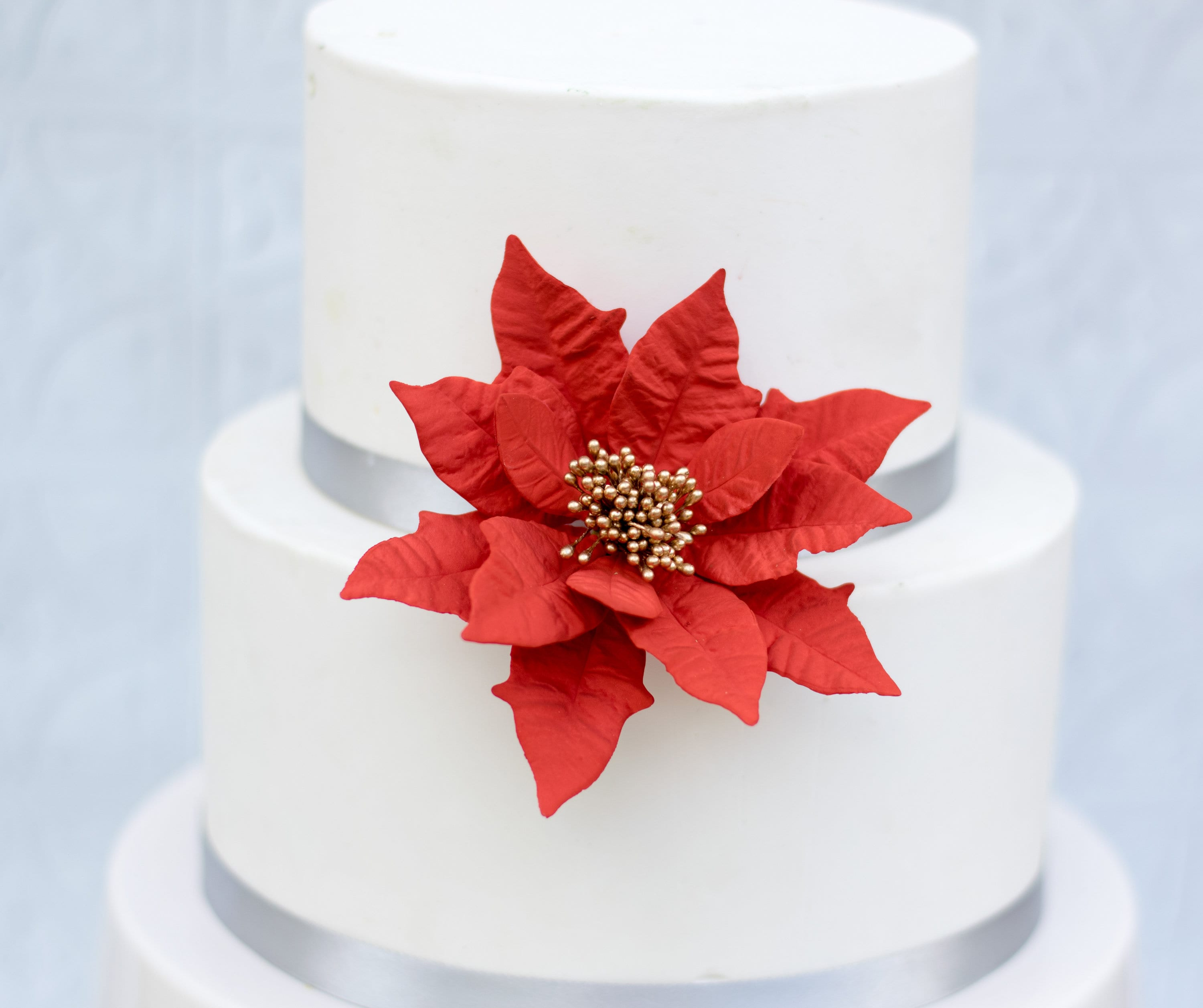 Christmas Wedding Cake Toppers.Gumpaste Poinsettia Sugar Flower In Red And Gold For