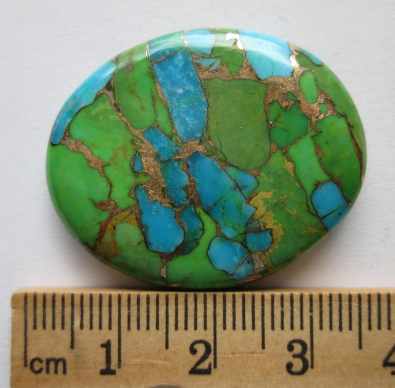 1BN 032 52.60 ct Compressed Stabilized Kingman Green Mohave Turquoise Gemstone