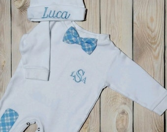 Baby Boy Coming Home Outfit Newborn Baby Boy Hat Personalized Sleeper Romper and Cap with Monogram Baby Boy Gift Baby Boy Take Home Outfit