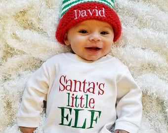 baby boy christmas outfit personalized baby boy romper baby boy first christmas outfit personalized christmas hat baby boy elf