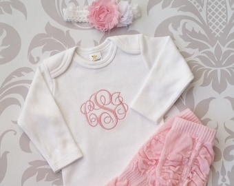 Newborn Girl Outfit Baby Girl Coming Home Outfit Monogrammed Baby Girl Personalized Baby Gift