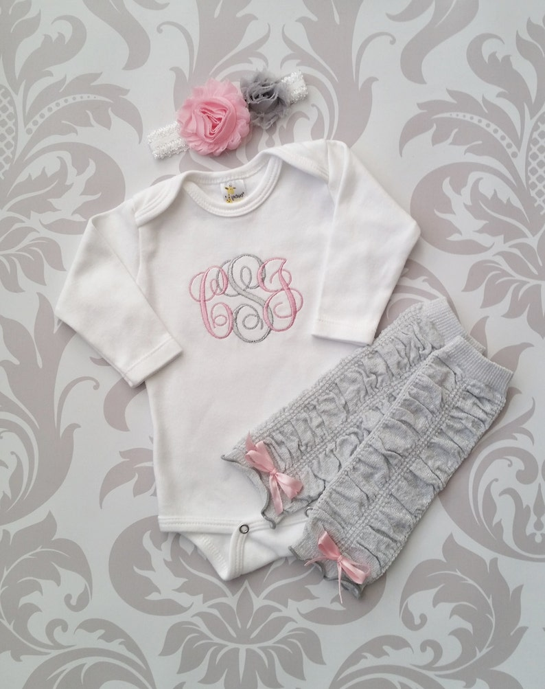 d6dd0592d0ea4 Newborn Girl Outfit Baby Girl Coming Home Outfit Monogrammed Baby Girl  Personalized Baby Gift Baby Girl Legwarmers