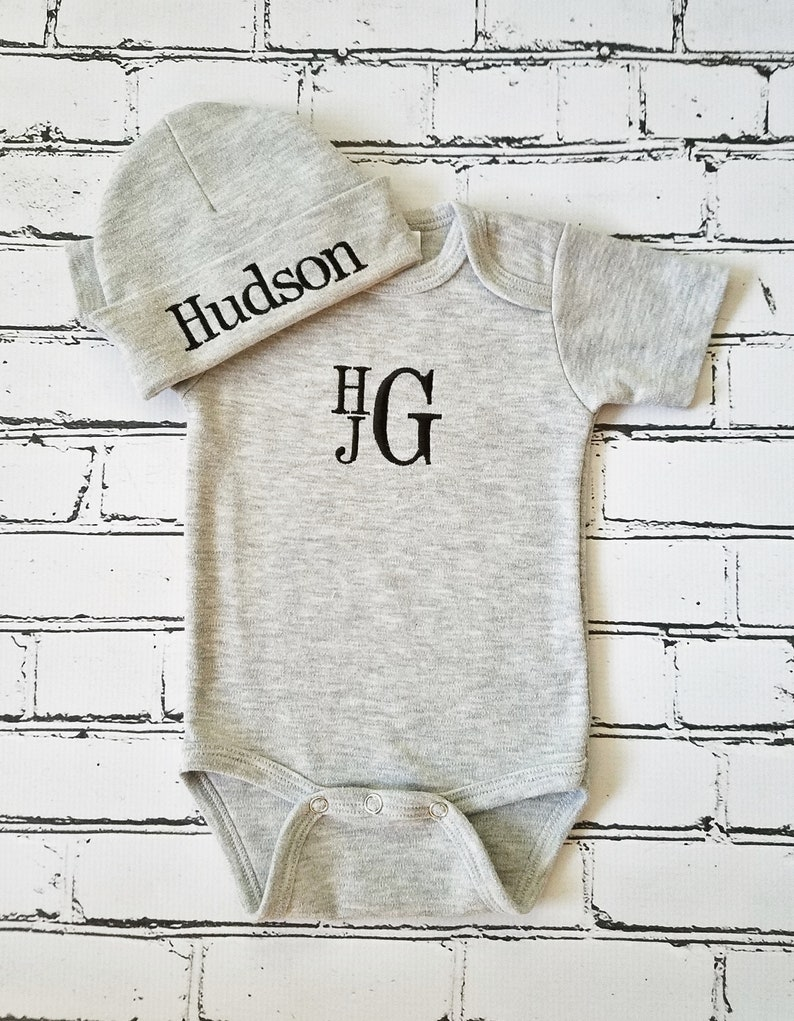 d461dae8 Baby Boy Coming Home Outfit Monogrammed Baby Boy Outfit   Etsy